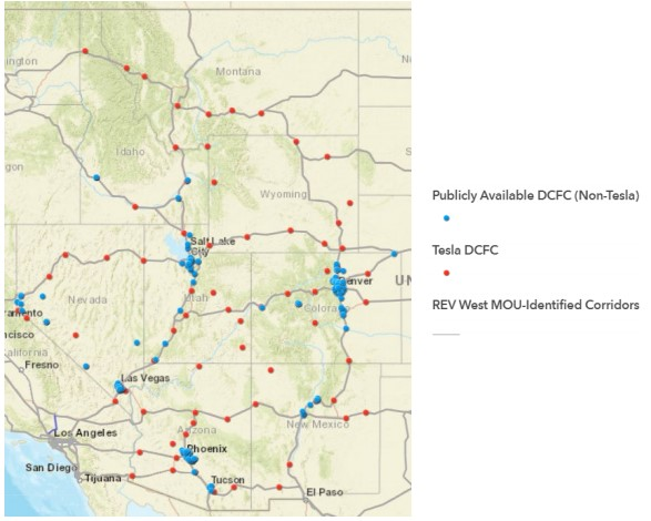DCFC Stations in the Western States 2018